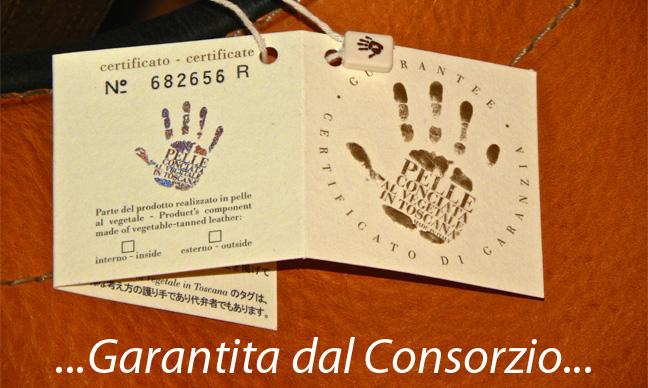 <br>Pelli Garantite dal Consorzio:<br>Vera Pelle Italiana Conciata al Vegetale <br> <br>Richiedi i cartellini per i tuoi prodotti!!